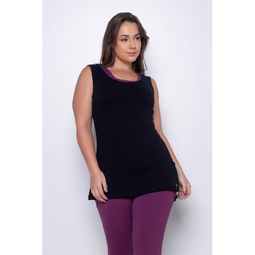 Camiseta Canelada Mullet Preta - 41466 - Korefit