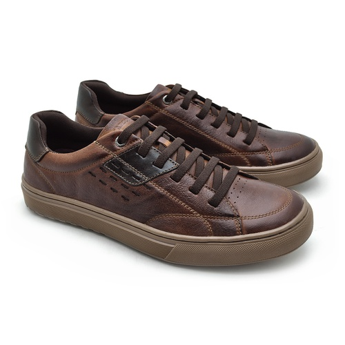 Sapatenis em Couro Casual Masculino Connect - Brown