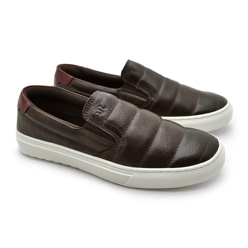 Slip On Yate Masculino Connect em Couro - Café