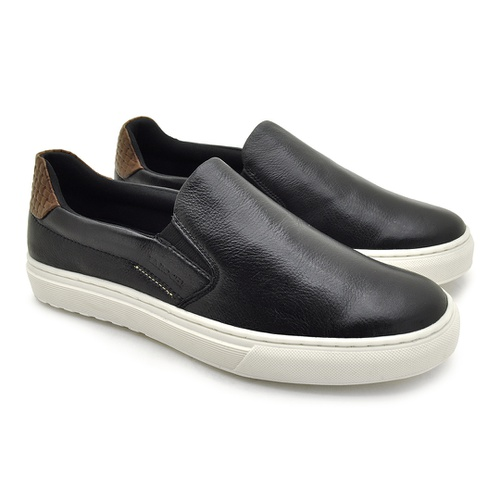 Slip On Yate Masculino Connect em Couro - Preto/Whisky