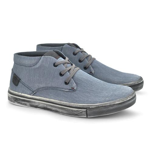 Sapatenis Botinha Stratus Eco Masculino em Lona Azul Jeans