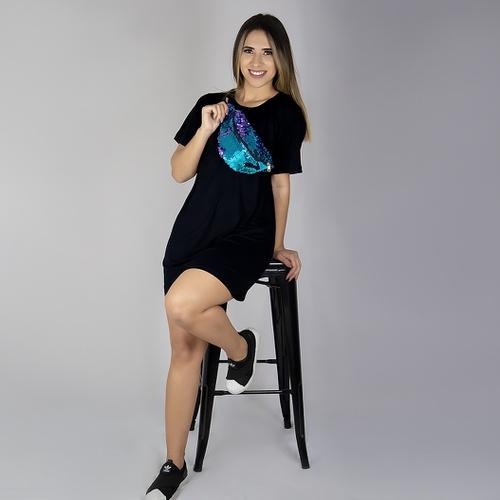 Vestido Camiseta - Preto - VC-01 - LOJA TUTTI FRUTTI