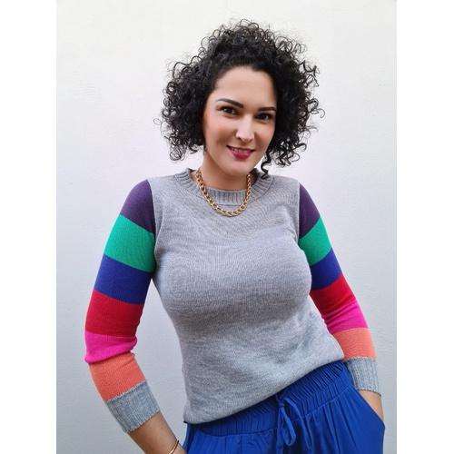 Blusa de tricot Colors - Cinza - BL088 - LOJA TUTTI FRUTTI