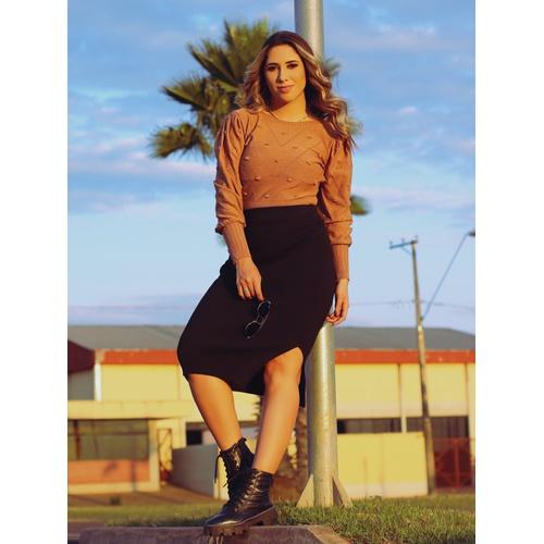 Blusa de tricot Juliana - Caramelo - BL019 - LOJA TUTTI FRUTTI