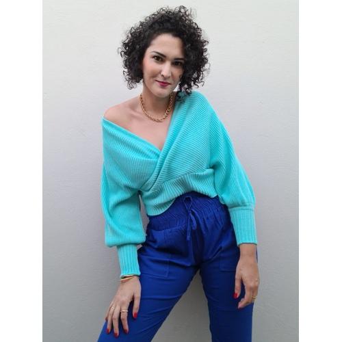 Blusa Tricot Valentina - Azul Piscina - BL0165 - LOJA TUTTI FRUTTI