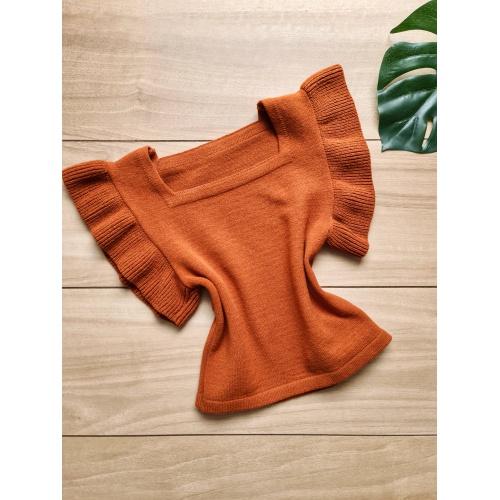 Blusa em tricot Marília - Telha - BL053 - LOJA TUTTI FRUTTI