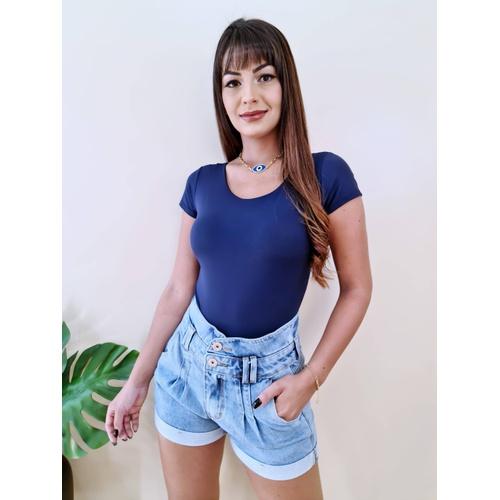 Body Manga Curta - Azul Marinho - BL2245 - LOJA TUTTI FRUTTI