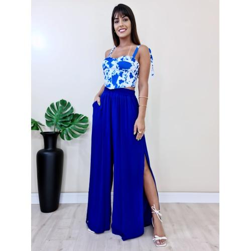 Calça Pantalona Tais - Azul Bic - C3685 - LOJA TUTTI FRUTTI