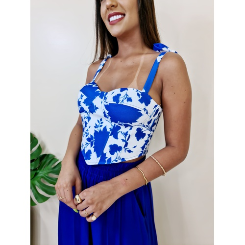 Cropped Candy - Floral Azul - BL115 - LOJA TUTTI FRUTTI