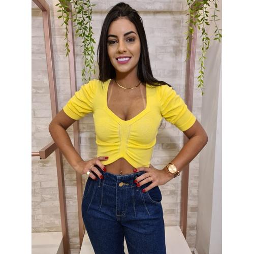 Cropped Tricot Gabriela - Amarelo Claro - CP002 - LOJA TUTTI FRUTTI