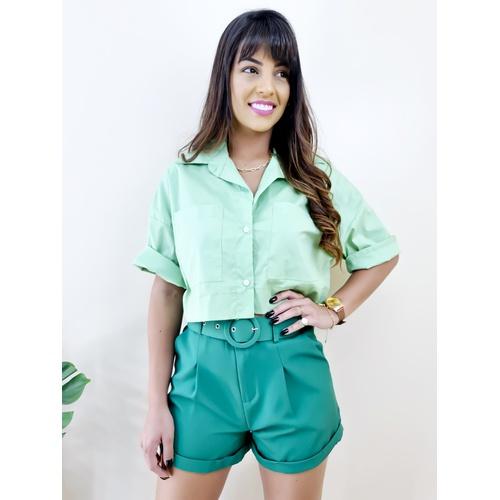 Cropped Camisa Fiorella - Verde Clara - B4563 - LOJA TUTTI FRUTTI