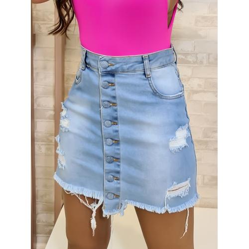 Saia Jeans - Lavagem Clara - S7744 - LOJA TUTTI FRUTTI