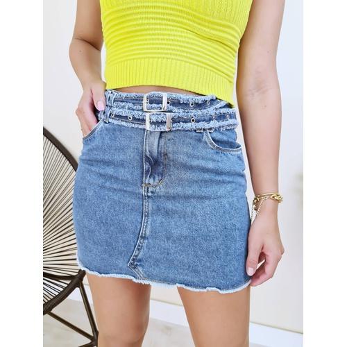 Saia Jeans Cinto Duplo - S1877 - LOJA TUTTI FRUTTI
