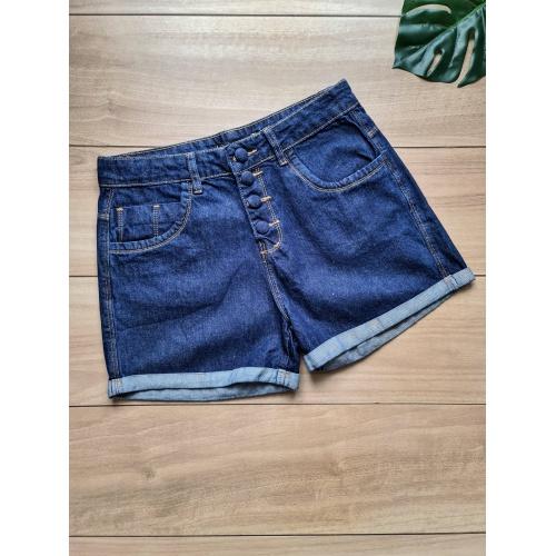 Short Jeans Zoe Botão Encapado - Lavagem Escura - ... - LOJA TUTTI FRUTTI