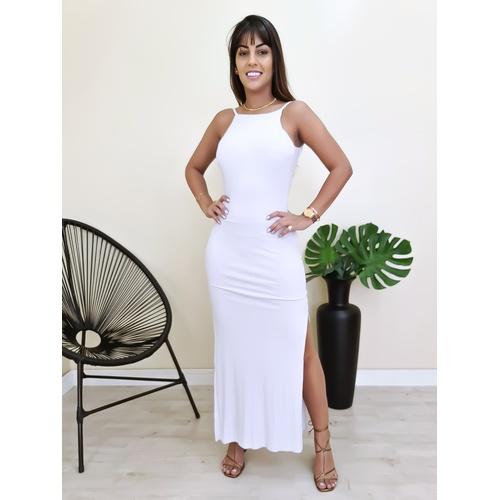 Vestido Longo Costas Nua - Branco - V6985 - LOJA TUTTI FRUTTI