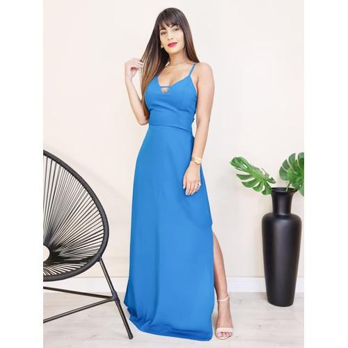 Vestido Longo com Abertura - Azul Petróleo - V109... - LOJA TUTTI FRUTTI