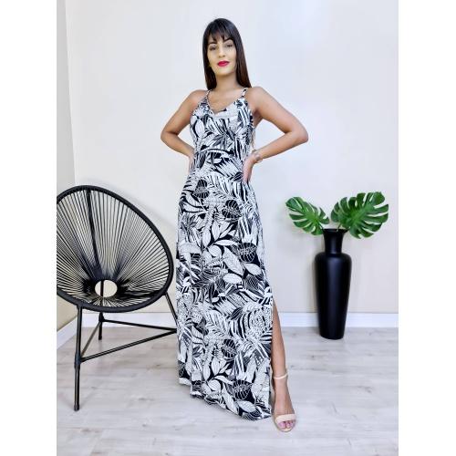 Vestido Longo com Abertura - Folhagem - V109090 - LOJA TUTTI FRUTTI