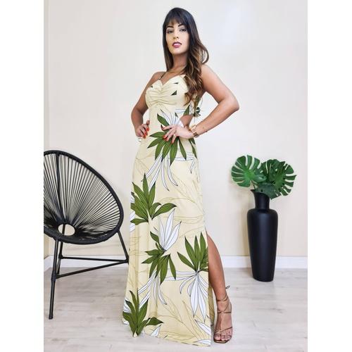 Vestido Longo Básico - Floral Bege - V10990 - LOJA TUTTI FRUTTI