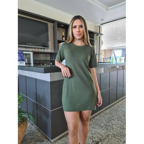 Vestido Camiseta - Verde Militar - V013 - LOJA TUTTI FRUTTI
