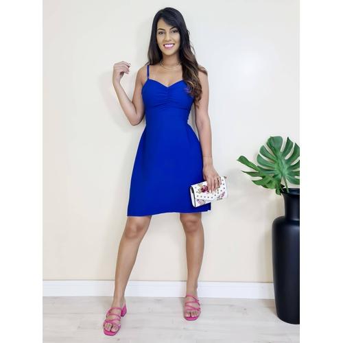 Vestido Curto Básico - Azul Bic - V17325 - LOJA TUTTI FRUTTI