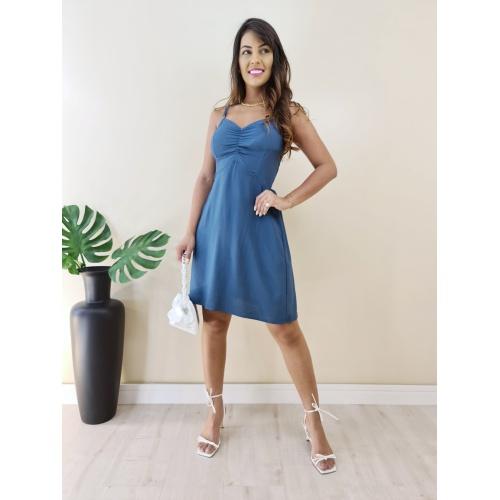 Vestido Curto Básico - Azul Petróleo - V17325 - LOJA TUTTI FRUTTI