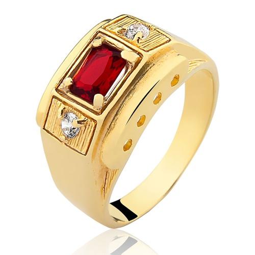 Anel de Ouro 18/750 Masculino com Pedra AN14