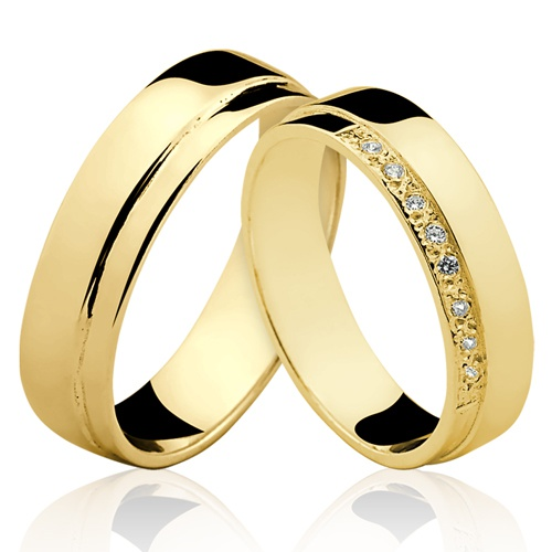 Alianças de Ouro 18k/750 com Diamantes AL100