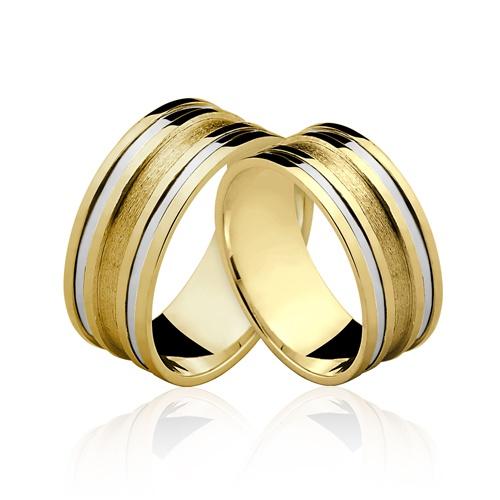 Alianças de Ouro 18k/750 Com Filete de Ouro Branco AL111