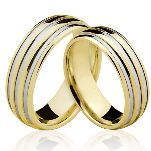 Alianças de Ouro 18k/750 Com Filete de Ouro Branco AL112
