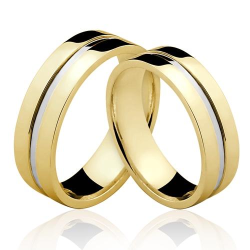 Alianças de Ouro 18k/750 Com Filete de Ouro Branco AL114