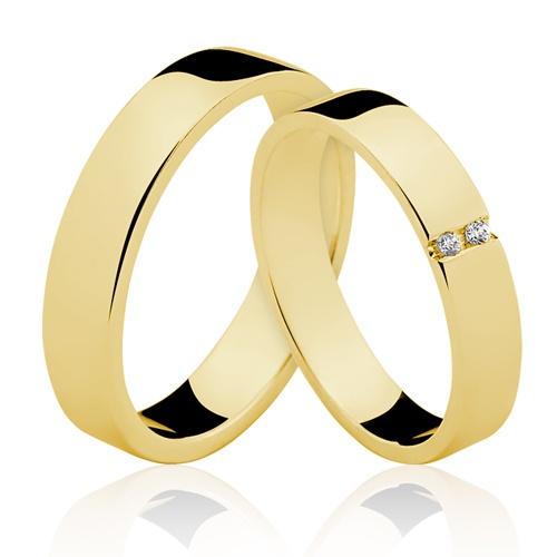 Alianças de Ouro 18k/750 com Diamantes AL140