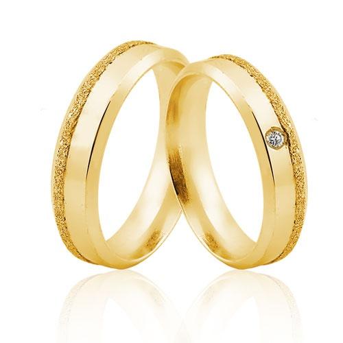 Alianças de Ouro 18k/750 com Diamante AL30