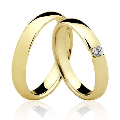 Alianças de Ouro 18k/750 Anatomica com Diamante AL59