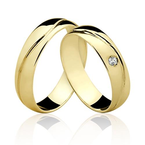 Alianças de Ouro 18k/750 com Diamante AL21/RP