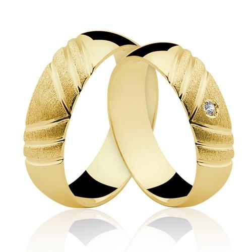 Alianças de Ouro 18k/750 com Diamante AL21/RP2