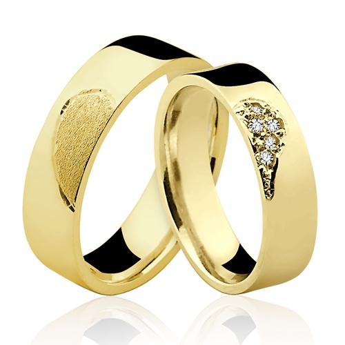 Alianças de Ouro 18k/750 Anatomica com Diamantes Coração