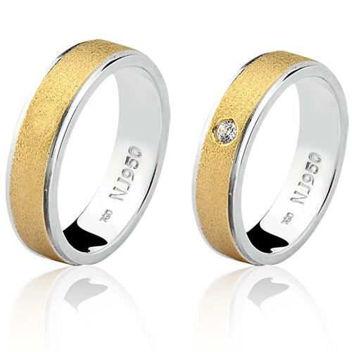 Par de Aliança Casamento/Noivado Mista em Ouro 18k/750 e Prata 950 AL149
