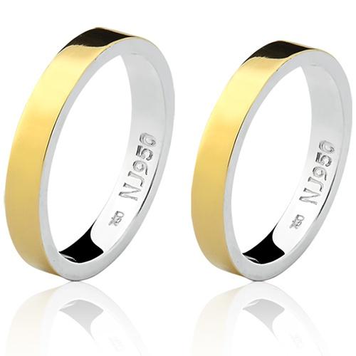 Par de Aliança Casamento/Noivado Mista em Ouro 18k/750 e Prata 950 AL156