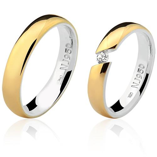 Par de Aliança Casamento/Noivado Mista em Ouro 18k/750 e Prata 950 AL158