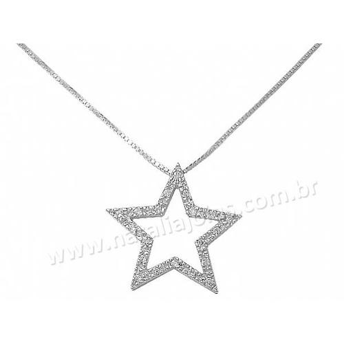 Corrente com Pingente de Estrela em Prata 925
