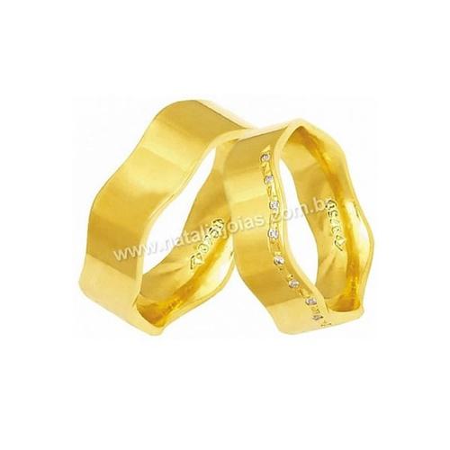 Alianças de Ouro Anatomica com Diamantes 18k/750 AE159