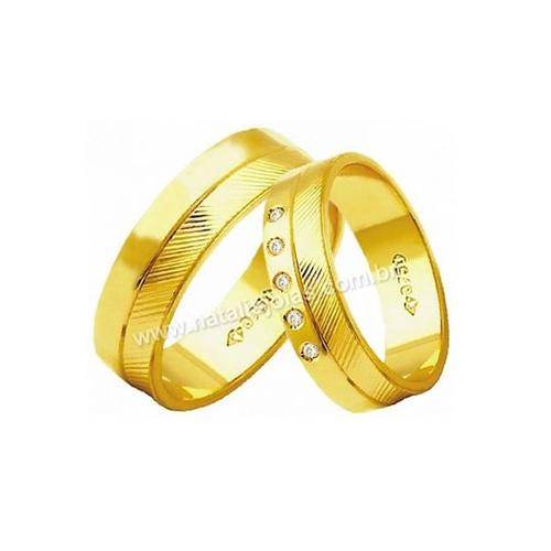 Alianças de Ouro 18k/750 com Diamantes AE185