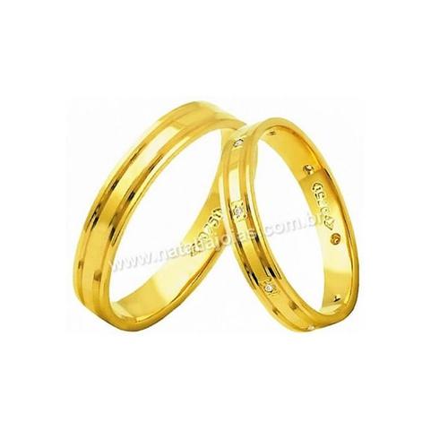 Alianças de Ouro 18k/750 com Diamantes AE180