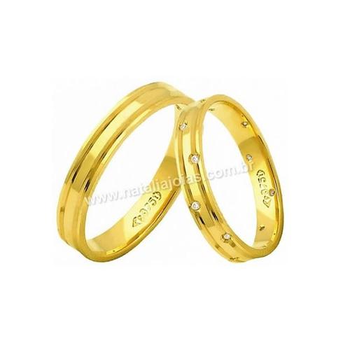 Alianças de Ouro 18k/750 Anatomica com Diamantes AE175