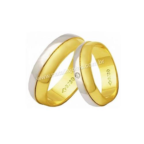Alianças de Ouro 18k/750 com Diamante AE151