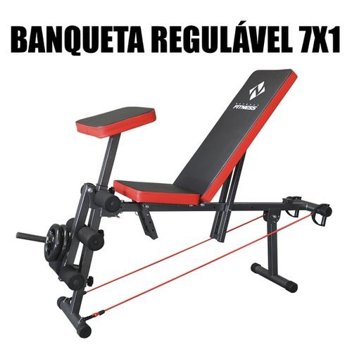 Banqueta Livre Regulável Musculação 7x1 - Natural Fitness