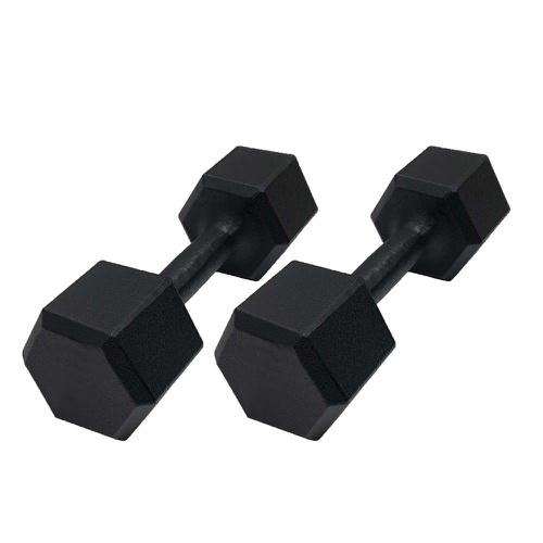 Par de Dumbell Sextavado Pintado Preto 10kg - Natural Fitness