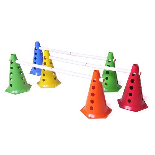 Kit Funcional 10 Cones Com Barreira Para Academia De Treino Funcional