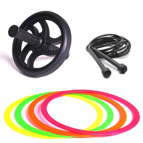 Kit Com Argolas, Corda e Roda Abdominal Para Treino Funcional