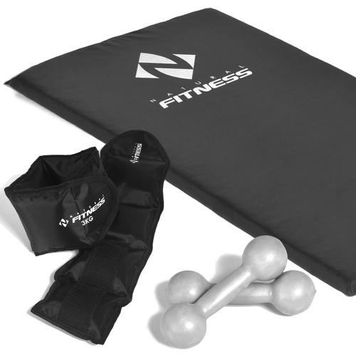 Kit Halteres 4kg + Caneleiras 3kg + Colchonete Espuma 20mm - Natural Fitness